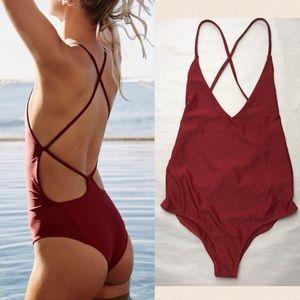 New Beach Riot FP Farrah Red One Piece Swimsuit